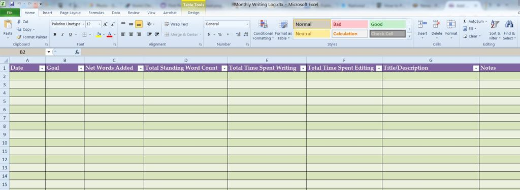 Monthly Writing Log Screenshot